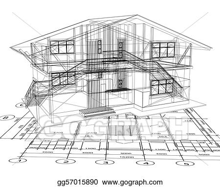 Vector art architecture blueprint of a house vector clipart vector art architecture blueprint of a house over a white background clipart drawing gg57015890 malvernweather Choice Image