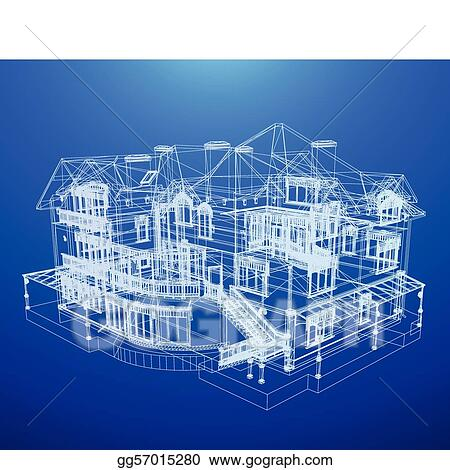 Vector illustration architecture blueprint of a house eps clipart architecture blueprint of a house malvernweather Image collections
