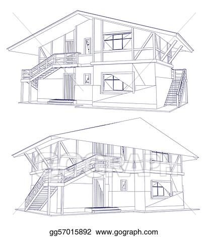 Architecture Blueprints Art vector art - architecture blueprint of a two house. vector. eps