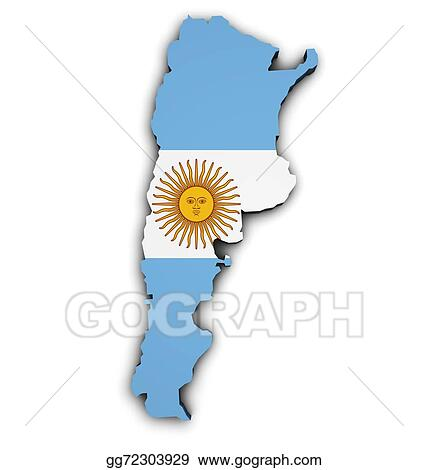Drawing Argentina Flag Map Shape Clipart Drawing Gg - Argentina 3d map