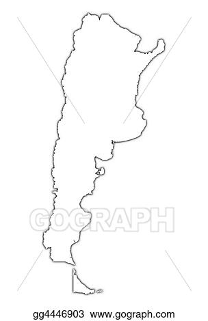 Drawing Argentina Outline Map Clipart Drawing Gg GoGraph - Argentina map outline