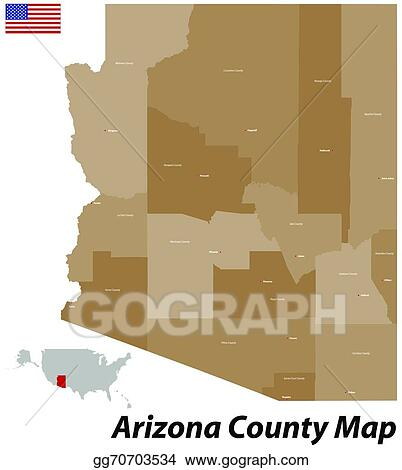 County Map Of Arizona With Cities.Eps Vector Arizona County Map Stock Clipart Illustration