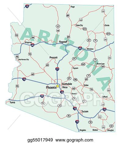 Vector Art Arizona State Interstate Map Eps Clipart Gg55017949 - Us-map-showing-interstates