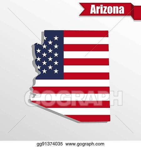 EPS Illustration - Arizona state map with us flag inside and ...
