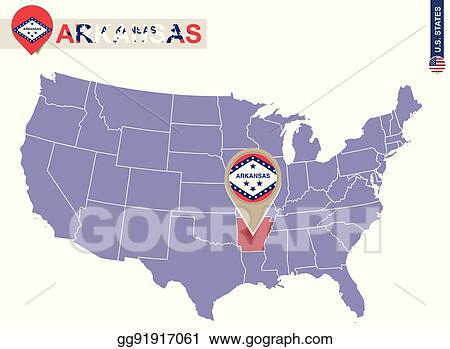 Vector Art Arkansas State On Usa Map Arkansas Flag And Map
