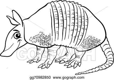 Armadillo Animal Cartoon Coloring Page