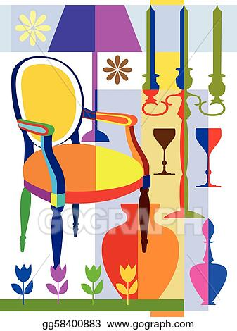 Vector Illustration Armchair And Home Interior Objects