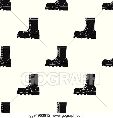 Vector Illustration , Army combat boots icon in black style