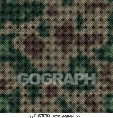 Drawing Army Green And Brown Woodland Camouflage Fabric