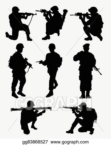 eps illustration army military action silhouettes vector clipart gg83868527 gograph https www gograph com clipart license summary gg83868527
