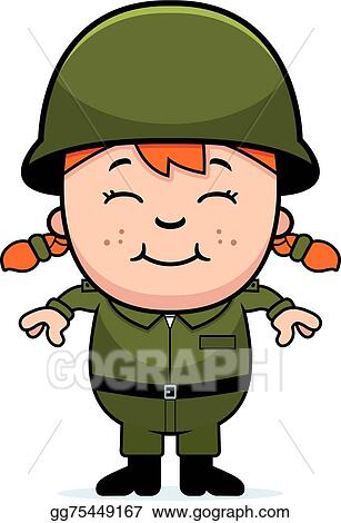 EPS Illustration - Army soldier girl  Vector Clipart