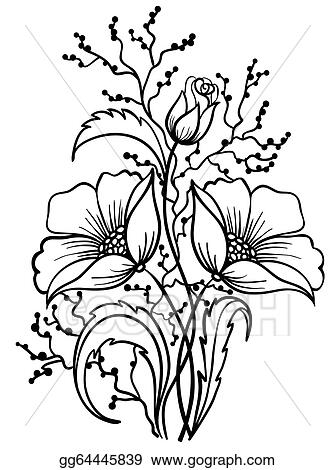Coloring Flower Clipart Black And White Outline