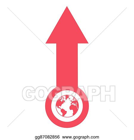 vector stock arrow pointing up with planet earth icon clipart