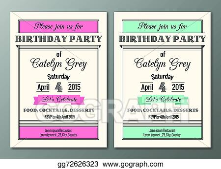 Eps Illustration Art Deco Birthday Party Invitation