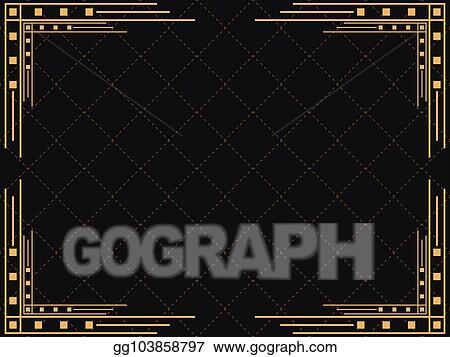 Vector Stock Art Deco Frame Vintage Linear Border Design A