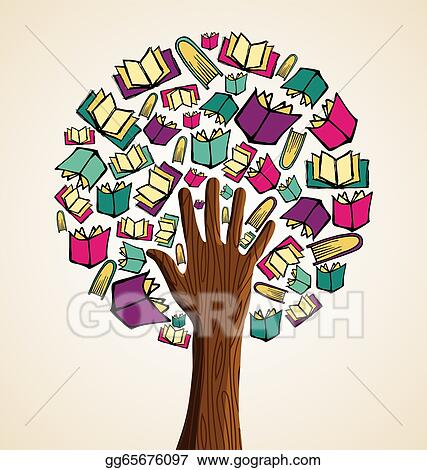Eps Illustration Art Hand Books Tree Vector Clipart Gg65676097