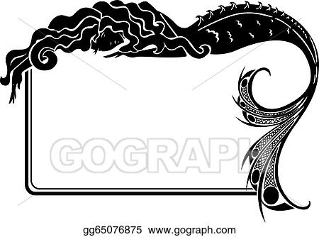 Vector Art - Art-nouveau mermaid silhouette frame. Clipart Drawing ...