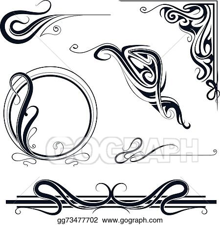 vector illustration art nouveau ornament set eps clipart rh gograph com art nouveau flower clipart art nouveau clip art free