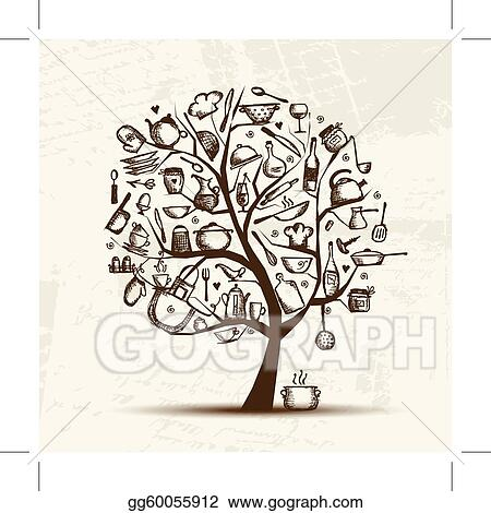vector clipart art tree with kitchen utensils sketch drawing for