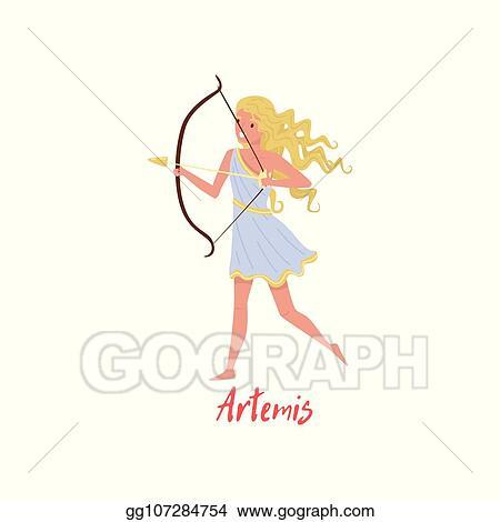Vector Clipart Artemis Olympian Greek Goddes Ancient