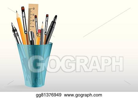 Vector Clipart Artistic Tools In Plastic Cup Vector Background Vector Illustration Gg81376949 Gograph