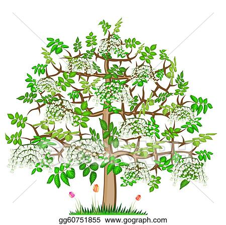 Stock Illustration Ash Lonely Blossom Spring Tree Clipart
