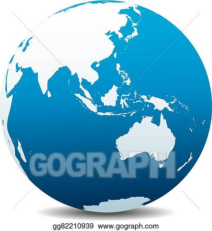 Australia Global Map.Clip Art Vector Asia And Australia Global World Stock Eps