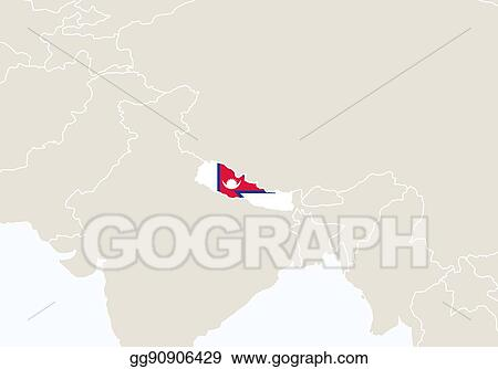 Vector Clipart - Asia with highlighted nepal map. Vector ...