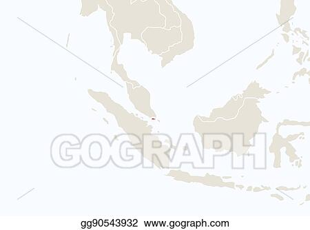 Vector Illustration - Asia with highlighted singapore map ...