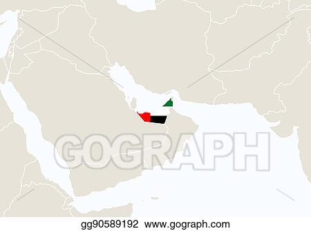 Map Of Asia United Arab Emirates.Vector Illustration Asia With Highlighted United Arab Emirates Map