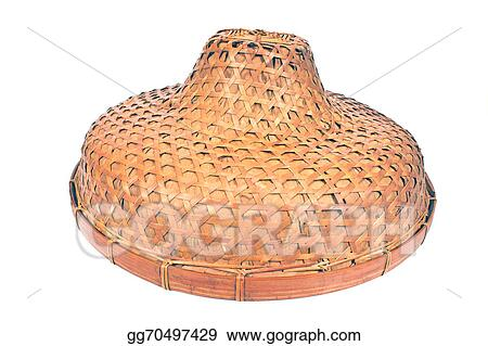 Stock Photos - Asian bamboo straw conical hat isolated on white ... 656dcce0887b