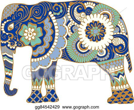 Vector Art Asian Elephant With Patterns EPS Clipart Gg60 Magnificent Asian Patterns