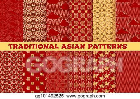 Vector art asian seamless pattern of oriental golden ornament