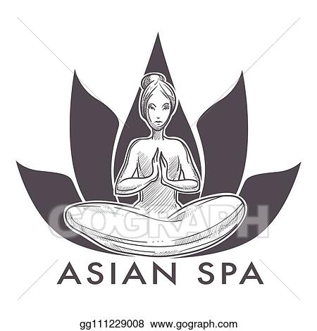 Vector Art Asian Spa Salon Isolated Icon Woman In Lotus Yoga Pose Clipart Drawing Gg111229008 Gograph