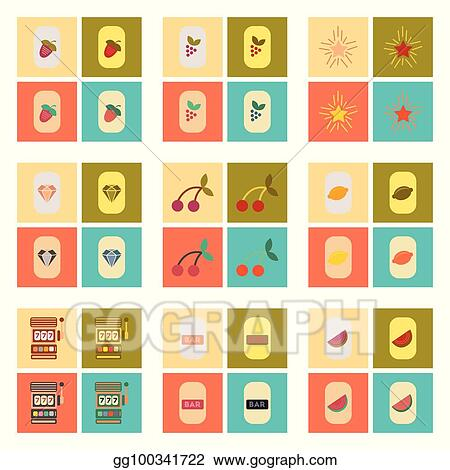 Vector Art Assembly Flat Icons Poker Symbols Clipart Drawing