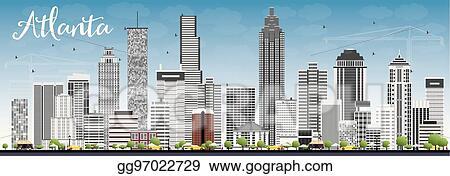 vector clipart atlanta skyline with gray buildings and blue sky