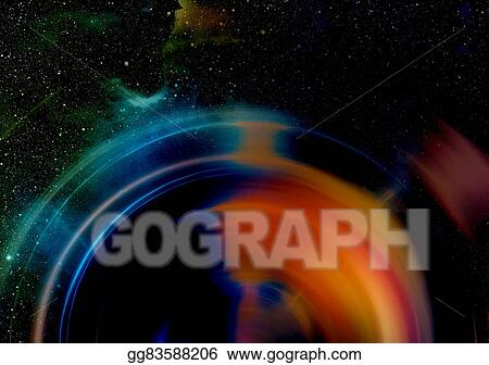 Stock Illustration - Audio music speaker with color effect  cosmic