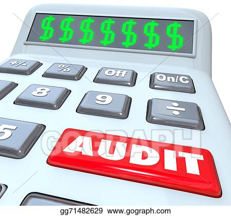 Clipart Audit Word On A Calculator With Dollar Signs In The