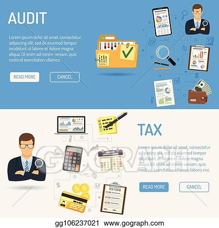 Vector Stock - Auditing, tax process, accounting banners  Clipart