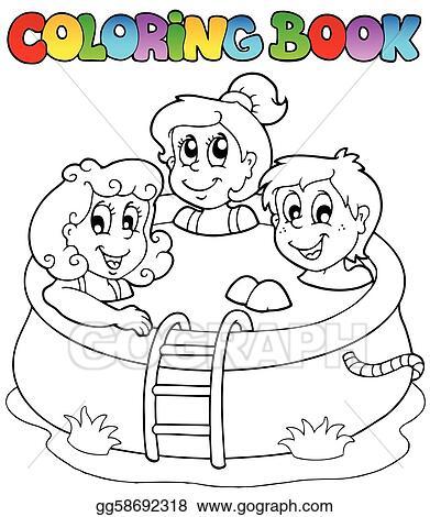 Clipart Vector Ausmalbilder Mit Kinder In Teich Stock Eps Gg58692318 Gograph