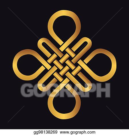 Vector Stock Auspicious Endless Knotbuddhist Symbolgold Stock
