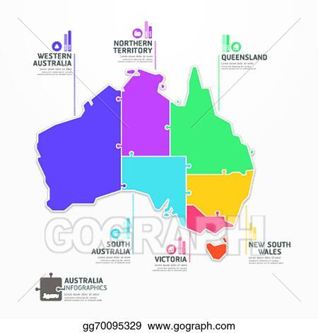 Australia Map Template.Vector Illustration Australia Map Infographic Template Jigsaw