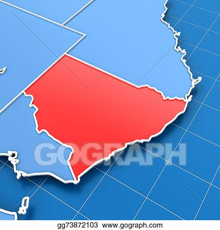 3d Map Of South Australia.Stock Illustration Australia Map With New South Wales Highlighted