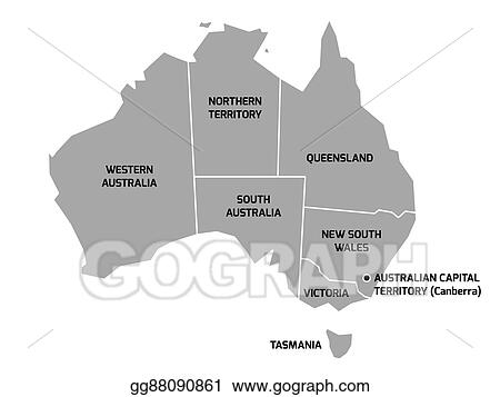 Map Of States Of Australia.Vector Illustration Australia Map With States And Territories Eps