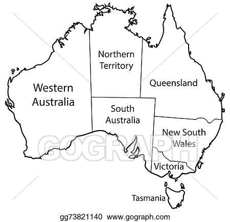 Australia Map Territories.Vector Illustration Australia Territories Outline Eps Clipart