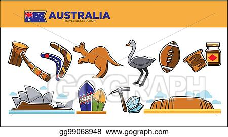Vector Illustration Australia Travel Destination Poster With