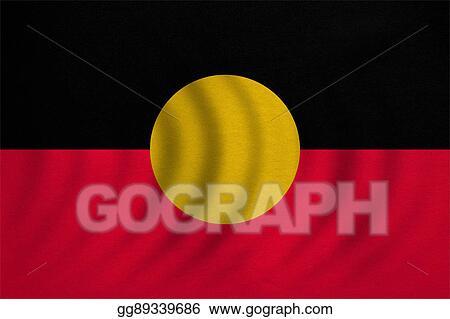 Clip Art Australian Aboriginal Flag Wavy Fabric Texture Stock
