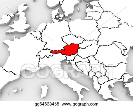 Map Of Europe With Germany Highlighted.Clipart Austria Country Abstract 3d Map Europe Continent Stock