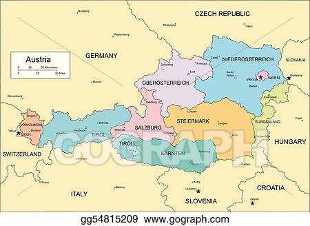 Vector Art Austria with administrative districts and surrounding