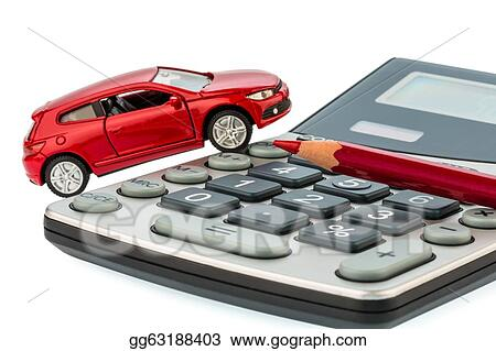 stock photo auto red pencil and calculator stock photography